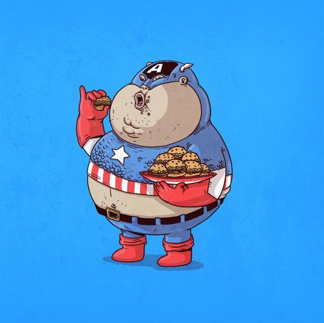 """当蝙蝠侠""""吃胖""""后 美画家恶搞卡通人物走红(组图)"""