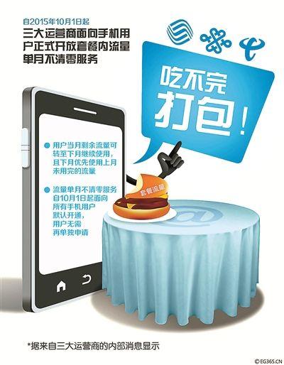 10月1日起手机套餐内流量单月不清零 系统默认无需申请(图)