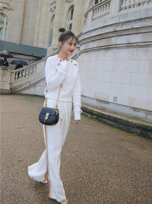 高圆圆亮相巴黎时装周 通身雪白似仙子