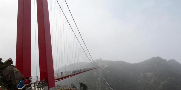 山东临沂五百米大跨度人行索桥投入运营(组图)