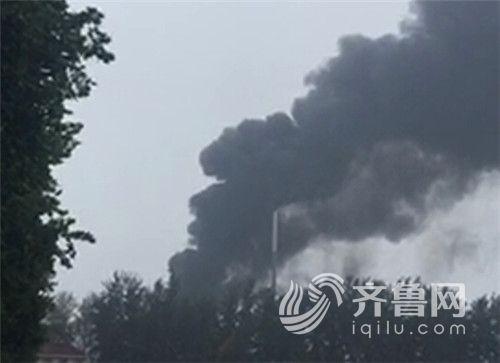 齐鲁制药厂突发大火,浓烟滚滚。(网友供图)