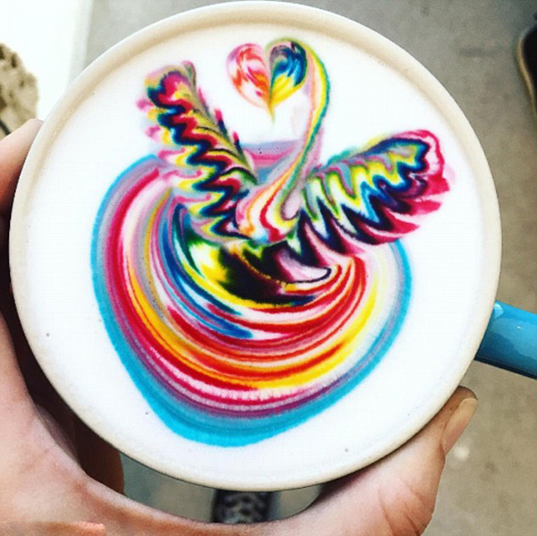 咖啡师奶泡上画彩图