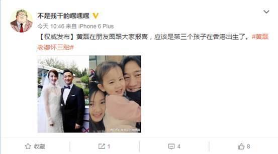 黄磊三胎儿子出生 黄磊发文示爱妻子孙莉 组图