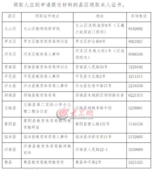 临沂市2017年中小学教师资格证书27日可领取
