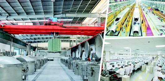 左图:泰安康平纳纱线染色智能工厂项目。右上图:青岛国家高速列车技术创新中心。右下图:歌尔股份车间。□记者 杜文景 报道